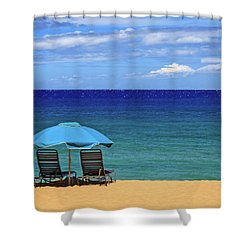 Shower Curtain featuring the photograph Two Chairs And An Umbrella by James Eddy