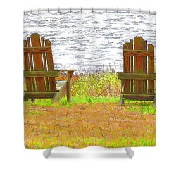 Two Chairs Facing The Lake Shower Curtain by Lanjee Chee