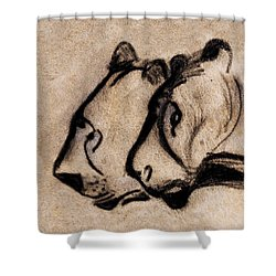Two Chauvet Cave Lions - Clear Version Shower Curtain