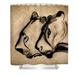 Two Chauvet Cave Lions Shower Curtain