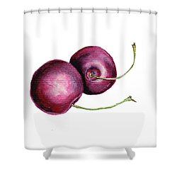 Shower Curtain featuring the painting Two Cherries by Heidi Kriel