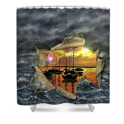 Shower Curtain featuring the digital art Two Climates by Darren Cannell