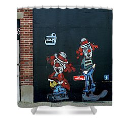 Shower Curtain featuring the photograph Two Clowns by JoAnn Lense