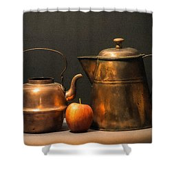 Shower Curtain featuring the photograph Two Copper Pots And An Apple by Frank Wilson