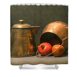 Shower Curtain featuring the photograph Two Copper Pots Pomegranate And An Apple by Frank Wilson