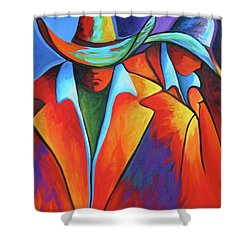 Two Cowboys Shower Curtain by Lance Headlee