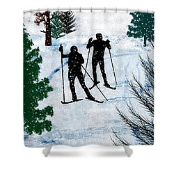 Two Cross Country Skiers In Snow Squall Shower Curtain by Elaine Plesser