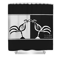 Two Crowing Roosters 3 Shower Curtain