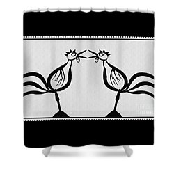 Two Crowing Roosters  Shower Curtain