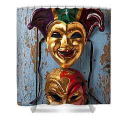Two Decortive Masks Shower Curtain by Garry Gay