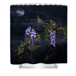 Mourning Doves In Moonlight Shower Curtain