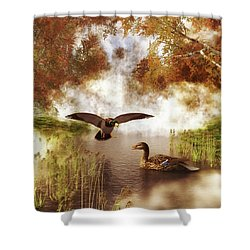 Two Ducks In A Pond Shower Curtain
