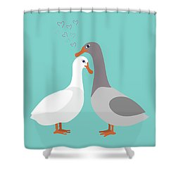 Two Ducks In Love Shower Curtain