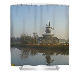 Two Dutch Windmills In The Fog Shower Curtain