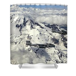Two Ea-6b Prowlers Fly In Formation Shower Curtain by Stocktrek Images