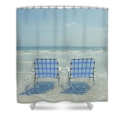 Two Empty Beach Chairs Shower Curtain
