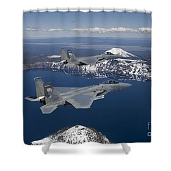 Two F-15 Eagles Fly Over Crater Lake Shower Curtain by HIGH-G Productions