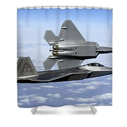 Shower Curtain featuring the photograph Two F-22a Raptors In Flight by Stocktrek Images