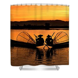 Two Fisherman At Sunset Shower Curtain