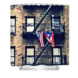 Two Flags In Washington Heights Shower Curtain by Sarah Loft
