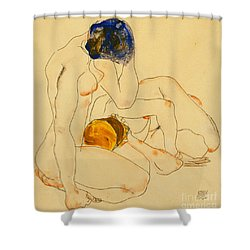 Two Friends Shower Curtain by Egon Schiele