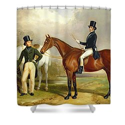 Two Gentlemen Out Hunting  Shower Curtain by Henry Barraud