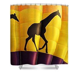 Two Giraffes Riding On A Hot Air Balloon Shower Curtain
