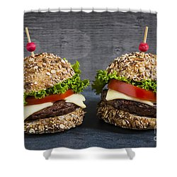 Two Gourmet Hamburgers Shower Curtain by Elena Elisseeva
