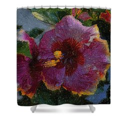 Shower Curtain featuring the photograph Two Grand Passion Hibiscus by John  Kolenberg