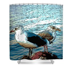 Two Gulls Shower Curtain by Ann Tracy