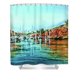Two Harbors Catalina Morning Impressions Shower Curtain