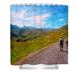 Two Hikers In Adelboden Shower Curtain by Gerhardt Isringhaus
