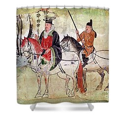 Two Horsemen In A Landscape Shower Curtain by Chinese School