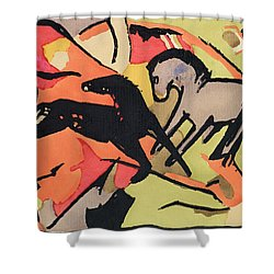 Two Horses Shower Curtain by Franz Marc