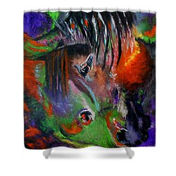 Two Horses Shower Curtain by Maris Sherwood
