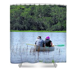 Two In A Canoe Shower Curtain by Rosalie Scanlon