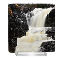 Shower Curtain featuring the photograph Two Island River Waterfall by Larry Ricker