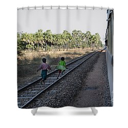 Two Kids Run Along And Follow Train In Burma Shower Curtain