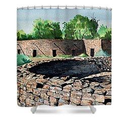 Two Kivas Aztec Ruins Shower Curtain