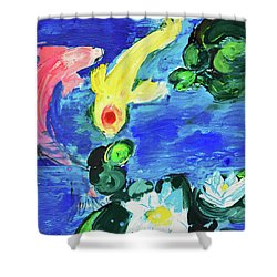 Two Koi Fish In A Lily Pond Shower Curtain