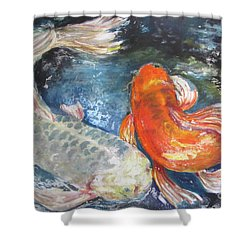 Two Koi Shower Curtain by Susan Herbst