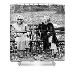 Shower Curtain featuring the photograph Two Ladies On Bench by Dave Beckerman