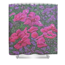 Two Layer Bougainvillea Shower Curtain