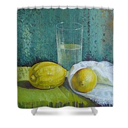Two Lemons Shower Curtain by Elena Oleniuc