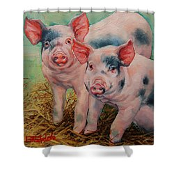 Two Little Pigs  Shower Curtain by Margaret Stockdale