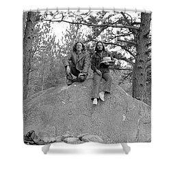 Two Men On A Boulder In The American West, 1972 Shower Curtain
