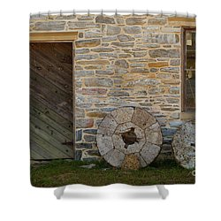 Two Mill Stones Against Building Shower Curtain