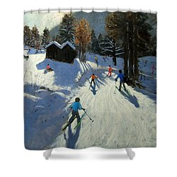 Two Mountain Huts Shower Curtain by Andrew Macara