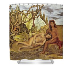 Two Nudes In The Forest Shower Curtain by Frida Kahlo