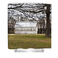Two Oaks White Kentucky Barn Shower Curtain